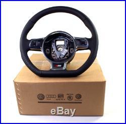 NEW OEM Audi A3 TT Black Leather S Line Paddle Shift Flat Bottom Steering Wheel