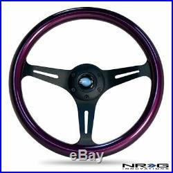 NRG Steering Wheel Purple Classic Wood Grain 3 Spoke Matte Black Center 350mm ST
