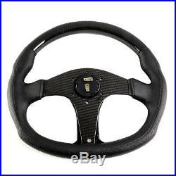 Nrg 350mm Carbon Fiber Frame Leather Inserts D-shape Steering Wheel Flat Bottom