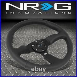 Nrg Reinforced 350mm 2.5 Deep Dish Matte Spokes Black Leather Steering Wheel