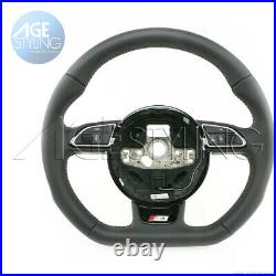 OEM Audi S4 B8 A5 Flat Bottom Steering Wheel with Brown Stitching 2012-2016