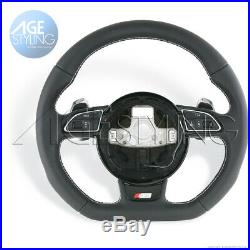 OEM Audi S5 A5 Flat Bottom Leather Steering Wheel wExtended Gear Paddle Shifters