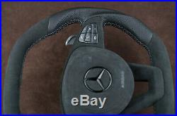 OEM Mercedes custom steering wheel Thick flat top & bottom Alcantara