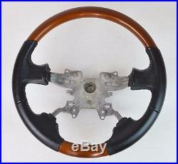 OEM Range Rover Custom Steering Wheel Black Leather and Matte Walnut Wood Grain