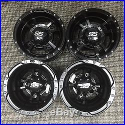 SET OF 4 ITP SS112 Rims MATTE BLACK FOUR WHEELS KAWASAKI KFX400 KFX450R KFX450
