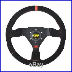 SPECIAL EDITION! OMP TARGA STEERING WHEEL SUEDE LEATHER 330mm RED TRIM & LOGO