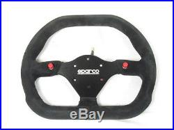 Sparco P310 Steering Wheel 310mm Black Suede Flat Dish withThumb Horn Buttons NEW