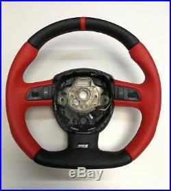 Steering Wheel AUDI A3/S3 A4/S4 A5/S5 A6/S6 Q7 FLAT BOTTOM! SPORT MODIFIED RED