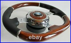 Steering Wheel BMW Wood Leather Flat Black Spokes E36 E38 E39 E46 Z3 1995-2003