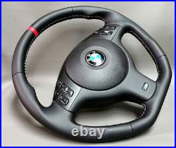 Steering wheel BMW E46 E53 E39 M3 New leather flat bottom Trim leather