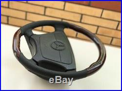 Steering wheel wood Black flat botom amg w124 w126 w140 w201 R129
