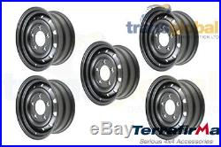 WOLF Military Style HD Wheels in Black x5 for Land Rover Defender Terrafirma
