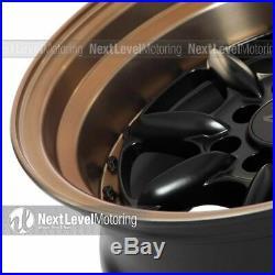 Xxr 002.5 15x8 4x100 4x114.3 +0 Flat Black/bronze Wheels (set Of 4)